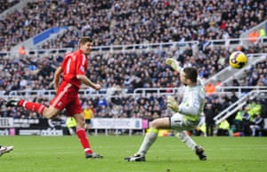 Relegation timescale: Liverpool's Gerrard shoots to score against Newcastle