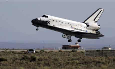 Space Shuttle Atlantis lands at Edwards Air Force Base in California