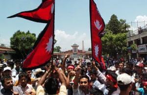 Narayanhiti Palace Museum: People celebrate outside the Royal Palace in Kathmandu