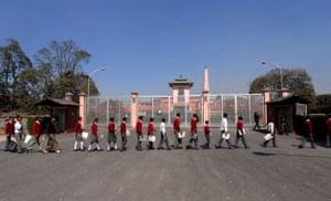Narayanhiti Palace Museum: Nepalese school children queue to enter the Narayanhiti Palace Museum