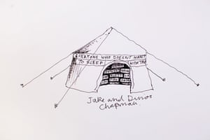 Hay festival yurt: Jake and Dinos Chapman's drawing of the Guardian yurt Hay festival 2009