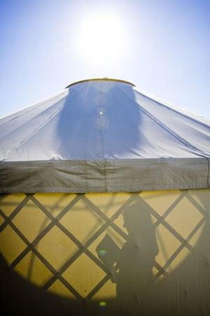 Hay festival yurt: the Guardian Yurt  Hay-on-Wye book festival 2009