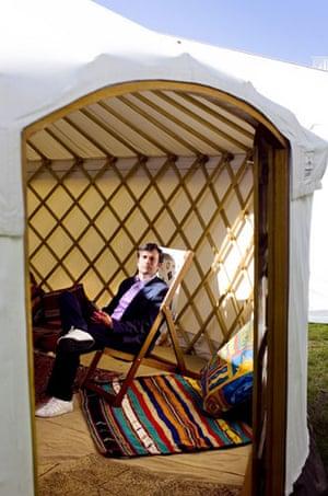Hay festival yurt: Robert Peston, the BBC's business editor in the Guardian's yurt