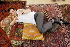 Hay festival yurt: Comedian Marcus Brigstocke Hay-on-Wye book festival 2009