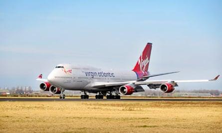 A Virgin Atlantic Boeing 747 plane at Amsterdam Schiphol airport