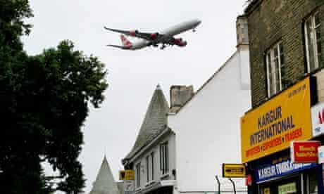Virgin Atlantic plane comes in to land near Heathrow airport.