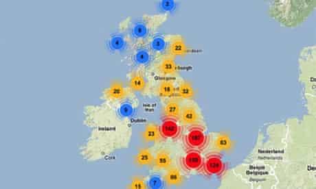 Broadband coverage map from Broadband Notspot