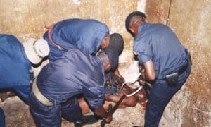 Police at Kin Mazière intelligence HQ in Kinshasa