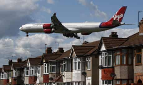 A Virgin Atlantic airline aircraft comes in to land at Heathrow Airport.
