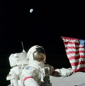 Apollo 17: Gene Cernan holding the US flag