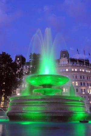 Trafalgar Square fountain: Brand new multi-coloured lights in Trafalgar Square fountains