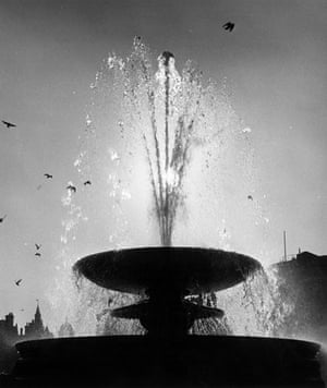 Trafalgar Square fountain: 1973: Pigeons hover over one of the fountains