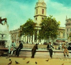 Trafalgar Square fountain: Trafalgar Square, London, 1930