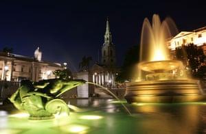 Trafalgar Square fountain: New multi coloured lights in Trafalgar Square fountains