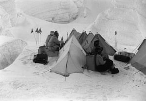 Changing Landscapes: Khumbu, Nepal, 1956: Members of Swiss Everest Expedition rest at high camp