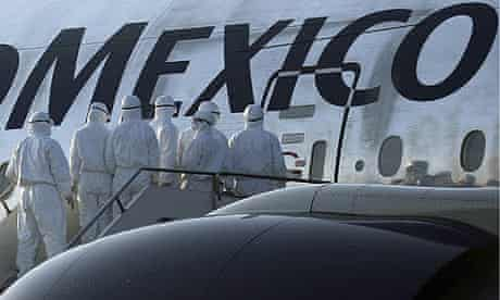 File photo of Chinese health inspectors waiting at entrance to a AeroMexico aircraft in Shanghai