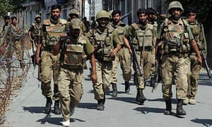 Pakistani troops on patrol in Mingora