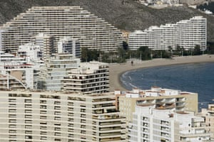 Spanish coastlines: 2009: Buildings line up at the beach of Cullera near Valencia