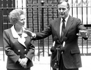 Margaret Thatcher: 1989: Margaret Thatcher and George Bush outside Number 10