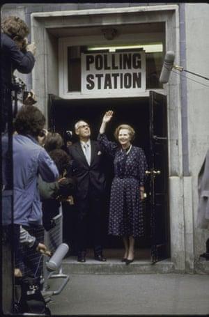 Margaret Thatcher: 1983: Margaret Thatcher after voting at a polling station