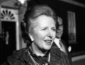 Margaret Thatcher: 1982: Margaret Thatcher outside No 10