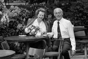 Margaret Thatcher: 1985: Margaret Thatcher and her husband Denis enjoy a cup