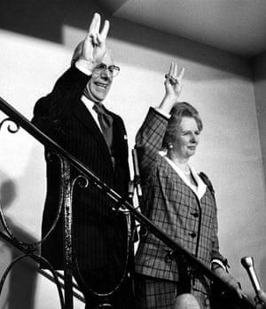 Margaret Thatcher: 1989: Margaret and Denis Thatcher signal a third victory