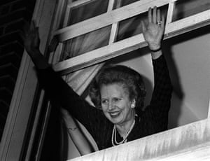 Margaret Thatcher: 1983: Minister Margaret Thatcher waves to well-wishers after her win