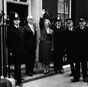 Margaret Thatcher: 1979: Margaret Thatcher outside 10 Downing Street following her election