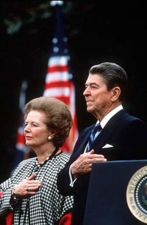 Margaret Thatcher: 1988: Margaret Thatcher and Ronald Reagan in Washington, US
