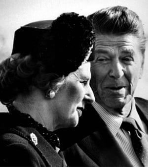 Margaret Thatcher: 1981: President Reagan chats with Margaret Thatcher