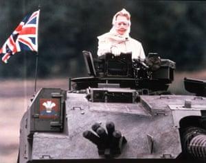 Margaret Thatcher: 1986: Margaret Thatcher rides aboard a tank