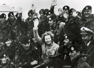 Margaret Thatcher: 1983: Margaret Thatcher visiting British troops on the Falkland Islands