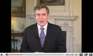 Gordon Brown smiling in a YouTube video