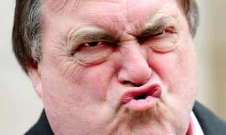 John Prescott imitates Gordon Brown's smile while speaking in York.