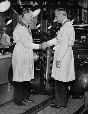 General motors: Alfred Sloan Shaking Hands with Buick Pres