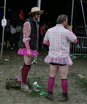 Festival fashion: Men in tutus at Glastonbury