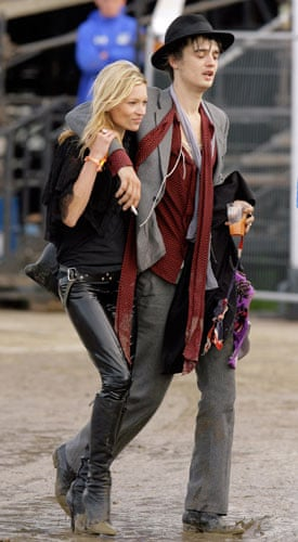 Festival fashion: Pete Doherty and Kate Moss at Glastonbury in 2007