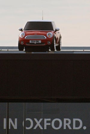 50 Years of the Mini: A Mini vehicle is parked on a rooftop at Mini car factory in Cowley, Oxford