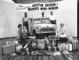 50 Years of the Mini: Austin Seven Morris Mini-Minor car on a podium in August 1959