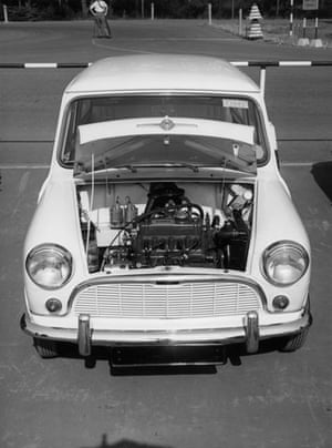 50 Years of the Mini: One of the first Mini cars, with the bonnet open to reveal the engine
