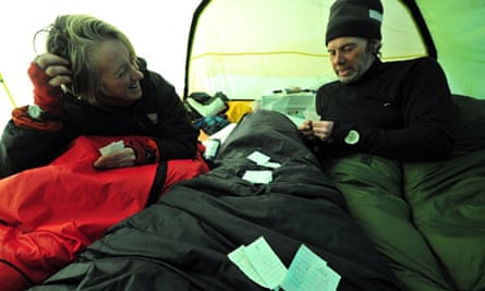 Ann Daniels and Pen Hadow playing cards in their tent for the Catlin Arctic Survey