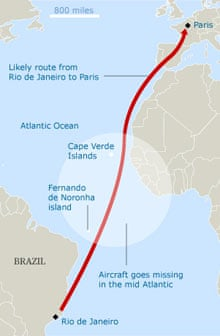 Map of the Air France crash