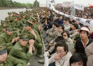 Tiananmen Square: Several hundred of 200,000 pro-democracy student p
