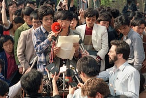 Tiananmen Square: Wang Dan, a leading Chinese dissident addresses foreign correspondents