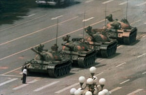 Tiananmen Square: A Chinese man blocks a line of tanks after the Tiananmen demonstration