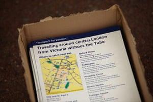 London underground strike: Leaflets detailing alternative travel during the London underground strike
