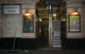 London underground strike: The closed gates at Great Portland Street Station