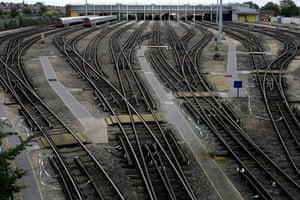 London underground strike: 9 June 2009: Underground trains remain at their depot in West London