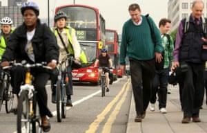 London underground strike: Waterloo Bridge: Commuters walking and cycling on the congested bridge